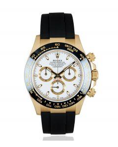Rolex Unworn Daytona Oysterflex Yellow Gold White Dial B&P 116518LN