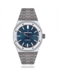 Audemars Piguet Royal Oak 37mm Stainless Steel Cobalt Blue Dial B&P 15450ST.OO.1256ST.03