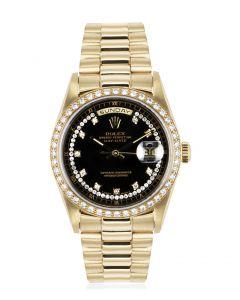 Rolex Day-Date Yellow Gold String Dial Diamond Bezel 18348