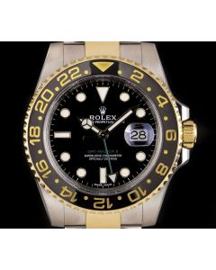 Rolex GMT-Master II Men's Stainless Steel & 18k Yellow Gold Black Dial Ceramic Bezel B&P 116713LN