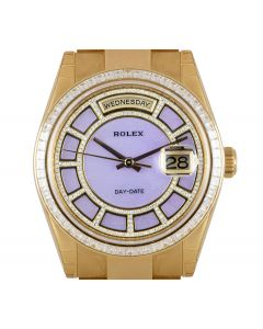 Rolex Unworn Day-Date NOS Men's 18k Yellow Gold Pink Mother of Pearl Carousel Dial Diamond Set B&P 118398BR