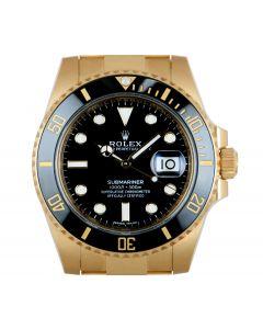 Rolex Unworn Submariner Date Men's 18k Yellow Gold Black Dial Ceramic Bezel B&P 116618LN
