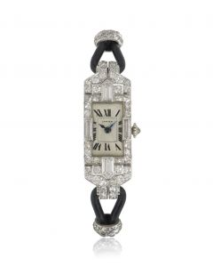 Cartier Rare Cocktail Art Deco Dress Watch Vintage Platinum Diamond Set European Watch & Clock Co Movement