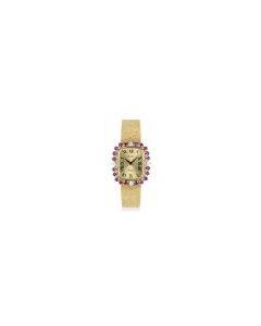 Piaget Dress Watch Women's 18k Yellow Gold Champagne Dial Ruby & Diamond Set 3642 B 68