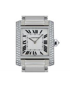 Cartier 18k White Gold Silver Dial Tank Francaise Mid-Size B&P WE1018S3