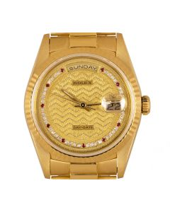 Rolex Very Rare Day-Date Men's 18k Yellow Gold Decorated Diamond & Ruby String Dial B&P 18238