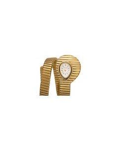 Bvlgari Rare Serpenti Tubogas Vintage Ladies 18k Yellow Gold Silver Dial