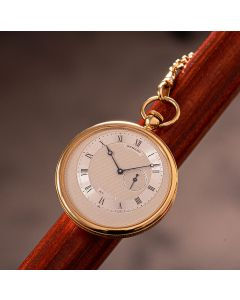 Breguet Limited Edition Open Face Pocket Watch Gents 18k Yellow Gold Silver Dial