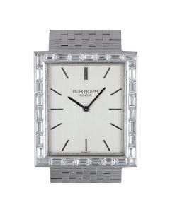 Patek Philippe Dress Watch Vintage Mid-Size 18k White Gold Silver Dial Diamond Bezel 3540/2