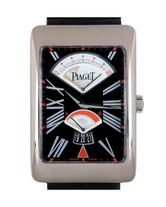 Piaget Limited Edition Rectangle A L'Ancienne Men's 18k White Gold Black Dial P10077