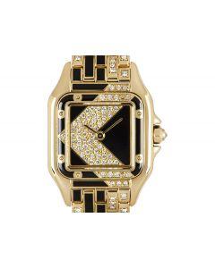 Cartier Rare Art Deco Panthere Women's 18k Yellow Gold Diamond & Enamel Set Dial & Case