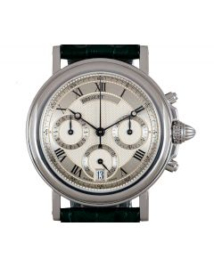 Breguet Unworn Marine Chronograph NOS Men's Platinum Silver Guilloche Dial 3460PT/12/996