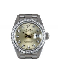 Rolex Datejust Women's Platinum Silver Dial Diamond Set 69136