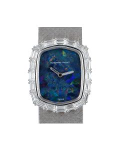 Audemars Piguet Rare Cocktail Dress Watch Women's 18k White Gold Blue Opal Dial Diamond Set