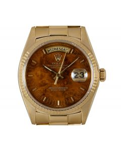 Rolex Rare Day-Date Men's 18k Yellow Gold Wood Dial 18038