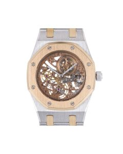 Audemars Piguet Very Rare Royal Oak Mid-Size Platinum & 18k Rose Gold Skeleton Dial B&P 14794PR/0/0902PR/99