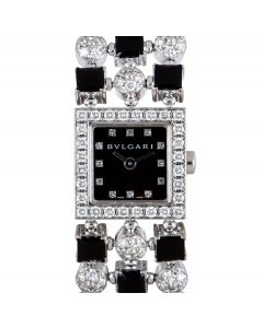 Bvlgari Lucea Women's 18k White Gold Black Dial Diamond & Onyx Set B&P LUW16G