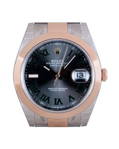 Rolex Unworn Datejust 41 Men's Stainless Steel & 18k Rose Gold Slate Wimbledon Dial B&P 126301