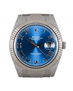 Rolex Unworn Datejust 41 Men's Stainless Steel Blue Roman Dial B&P 126334