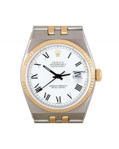 Rolex Oysterquartz Datejust Men's Stainless Steel & 18k Yellow Gold White Roman Dial B&P 17013