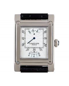 Cartier Tank A Vis Jumping Hour Paris Privee Collection Gents 18k White Gold Silver Guilloche Dial W1533451