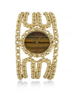 Piaget Dress Watch Vintage Yellow Gold Tigers Eye Dial 9801 V2 6