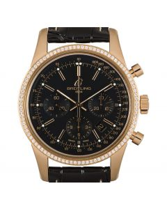 Breitling Transocean Chronograph Men's 18k Rose Gold Black Dial Diamond Bezel RB0152