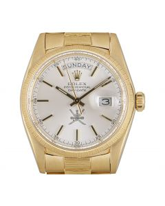 Rolex Very Rare Day-Date Vintage Men's 18k Yellow Gold Silver Omani Dial Bark Finish 1807
