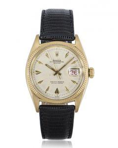 Rolex Rare Datejust Vintage Yellow Gold Dagger Dial Roulette Date Wheel Open 6 & 9 6605