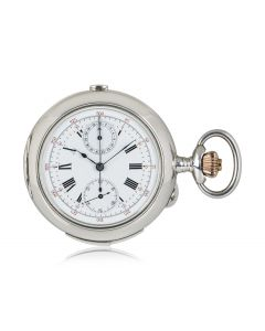 Swiss Open Face Quarter Repeater Chronograph Pocket Watch Silver