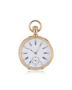 Rare Open Face Quarter Repeater Pocket Watch Retailed By Delsarte Antique 38mm Mid-Size Rose Gold