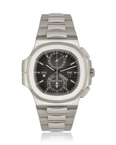 Patek Philippe Unworn Nautilus Travel Time Chronograph Stainless Steel B&P 5990/1A-001