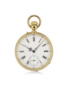 Bailley Levieux Open Face Pocket Watch Retailed By Golay Fils & Stahl Yellow Gold