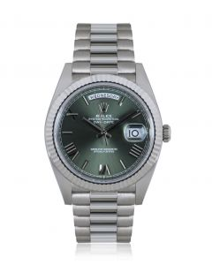 Rolex Day-Date 40 White Gold Olive Green Dial B&P 228239