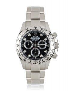 Rolex Unworn Daytona White Gold Black Diamond Dial B&P 116509