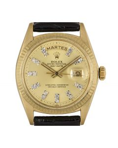 Rolex Day-Date Vintage Men's 18k Yellow Gold Champagne Diamond Dial 1803