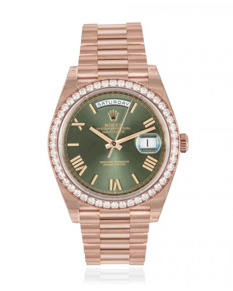 Rolex Day-Date 40 Olive Green Dial Diamond Bezel 228345RBR