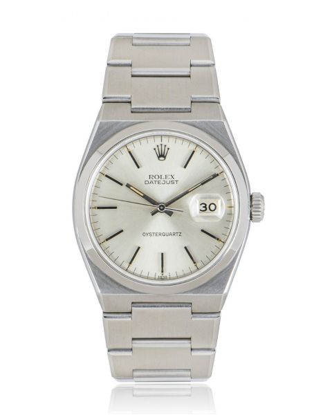 Rolex Datejust Oysterquartz Vintage Stainless Steel Silver One Line Dial 17000
